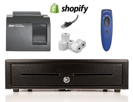 Shopify Bundle No.7 - STAR Network Printer, Socket Bluetooth Scanner, Cash Drawer, Paper
