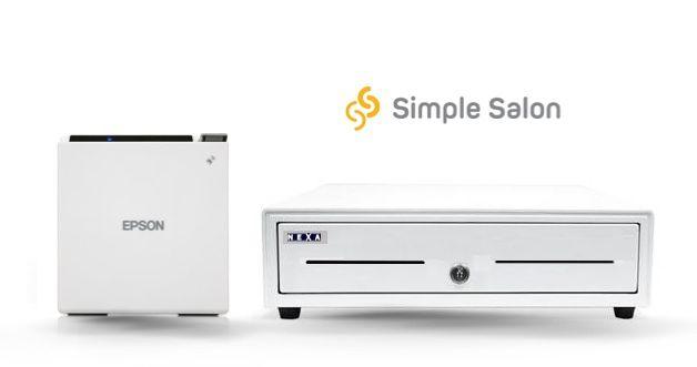 Simple Salon Bundle No.4 - All White - USB Receipt Printer, Cash Drawer (Windows Or Mac, Optional Paper)