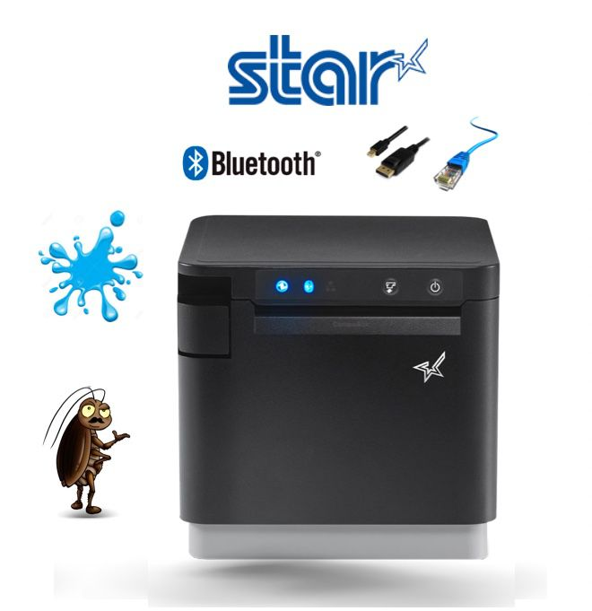 STAR mC-Print3 Thermal Receipt Printer - Auto-cutter, USB, Ethernet - Black