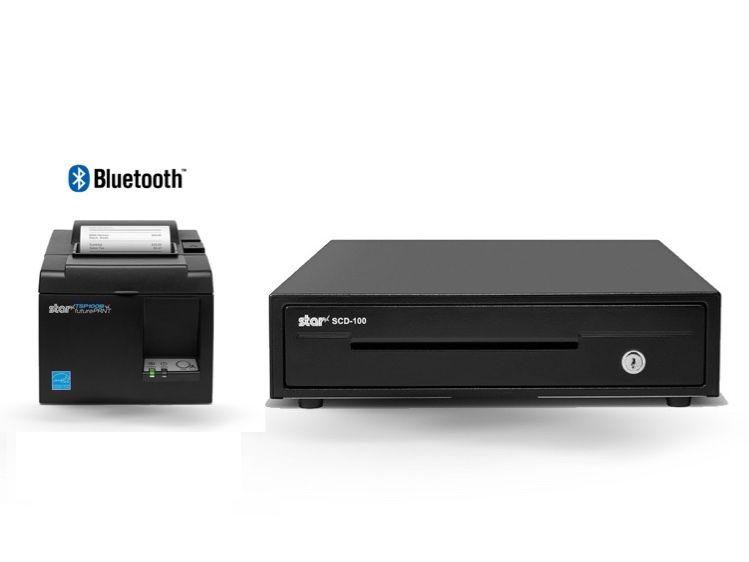 Star Micronics Thermal TSP143IIIBi Bluetooth Printer and SMALL STAR Cash Drawer Bundle