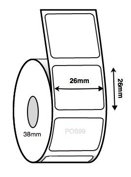 Synlite Synthetic Thermal Transfer Labels 26mm x 26mm (3 Rolls of 2,370 labels) (Permanent)