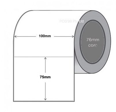 Thermal Transfer Labels 100mm x 75mm x 76mm Core Polypropylene Gloss Permanent (Rolls of 1,000)