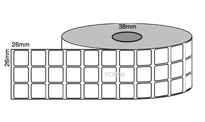 Synlite Thermal Transfer Labels 26mm x 26mm x 38mm Core (1 Roll of 7,110 labels x 3 across) Permanent
