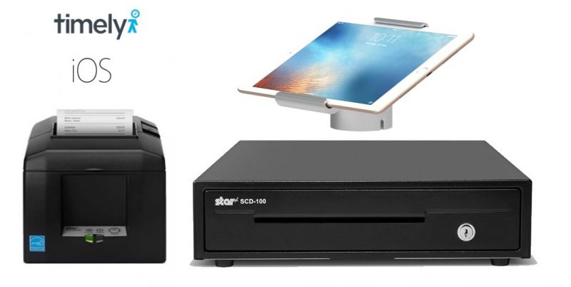 Timely iPad Bundle - Receipt Printer + Cash Drawer + iPad Stand (Optional Paper)