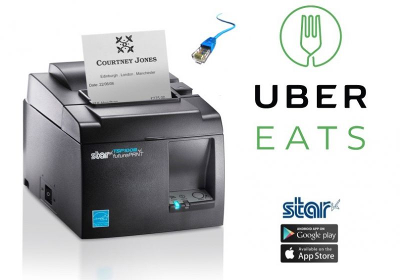 UberEats iPad or Android Compatible Network Ethernet Docket Printer with Autocutter (Black)