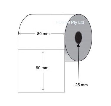 Thermal Transfer Labels 80mm x 90mm x 25mm Core (8 Rolls of 500)