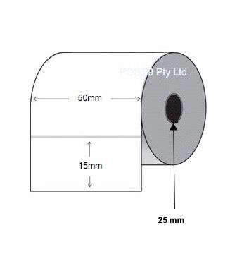 Direct Thermal Labels 50mm x 15mm x 38mm Core (Rolls of 1,000)