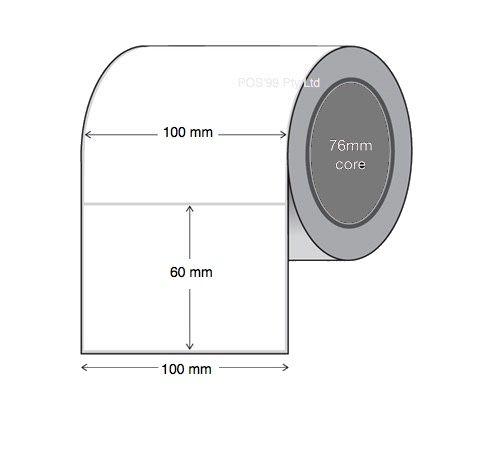 Thermal Transfer Labels 100mm x 60 mm x 76mm Core Permanent Gloss Paper (20 Rolls 1,000 LPR)