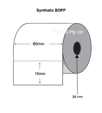 Synthetic BOPP Thermal Transfer Asset Labels 60mm x 15mm x 38mm Core (Rolls of 1,000)