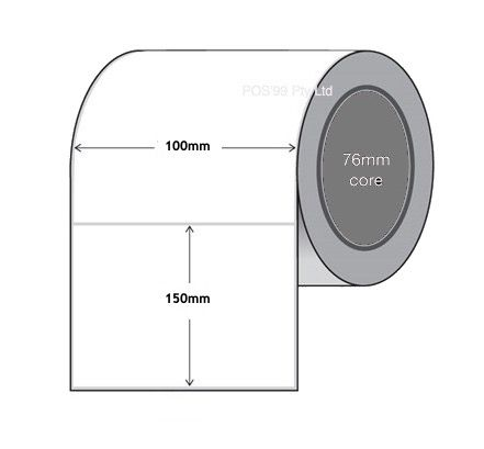 Thermal Transfer Labels 100mm x 150mm x 76mm Core Polypropylene Gloss Permanent (10 Rolls of 1,000)