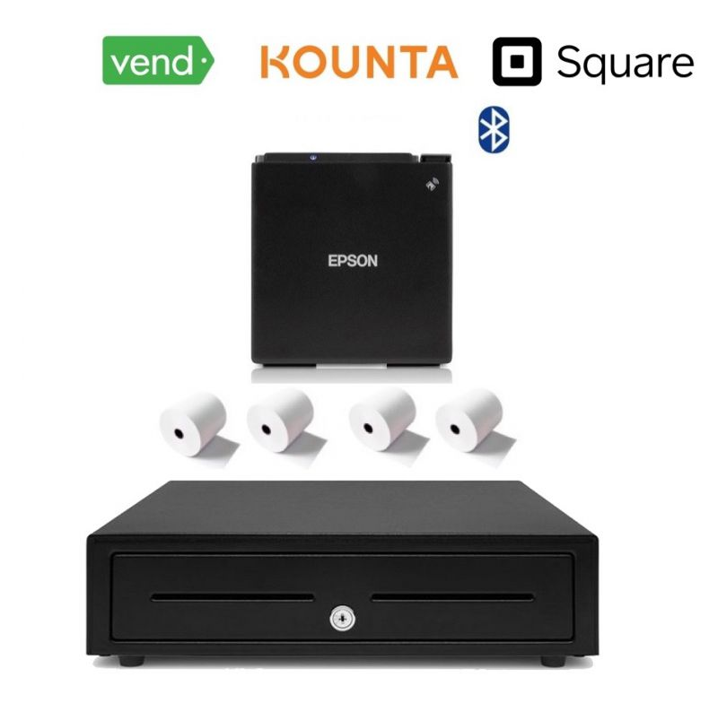Vend | Square | Kounta POS iPad Bluetooth Bundle (Bluetooth Epson m30 Receipt Printer, Cash Drawer, Paper)