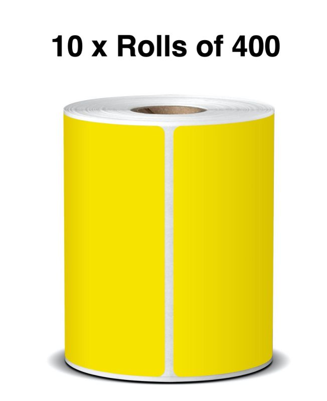Yellow Direct Thermal Labels 100mm x 150mm x 25mm Core (10 Rolls of 400)  LA100150TP1AC25MMY